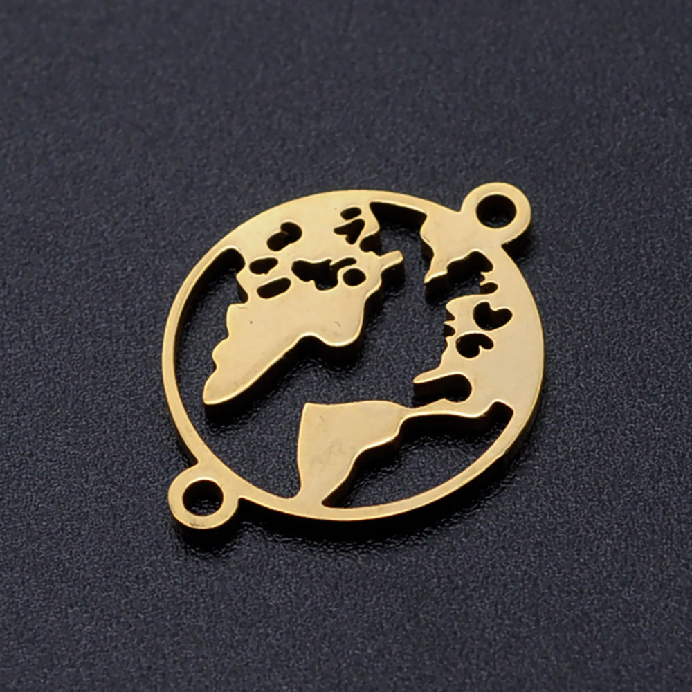 5pcs/lot World Map diy Connector Charms Wholesale 100% Stainless Steel High Polished Never Rust Jewelry Supplies