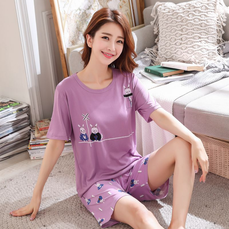 (According To Feminine) Short Sleeve Qmilch 140G Single Women's Lovers Rabbit Purple Two-color M -Xxl