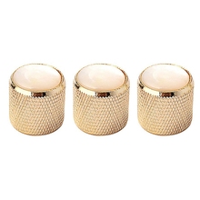 цена на 3Pcs Guitar Knob Volume Tone Control Metal Knob with Pearl White Knobs for Guitar Bass (Gold)