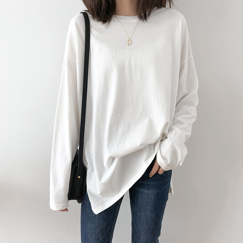 2020 Women Spring White Cotton T Shirts O-Neck Women Long Sleeve T Shirt Harajuku Casual Tops For Women Black Tees