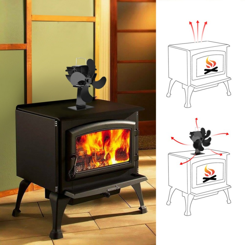 Household Black Fireplace 4 Blade Heat Powered Stove Fan Log Wood Burner Eco Friendly Quiet Fan Home Efficient Heat Distribution