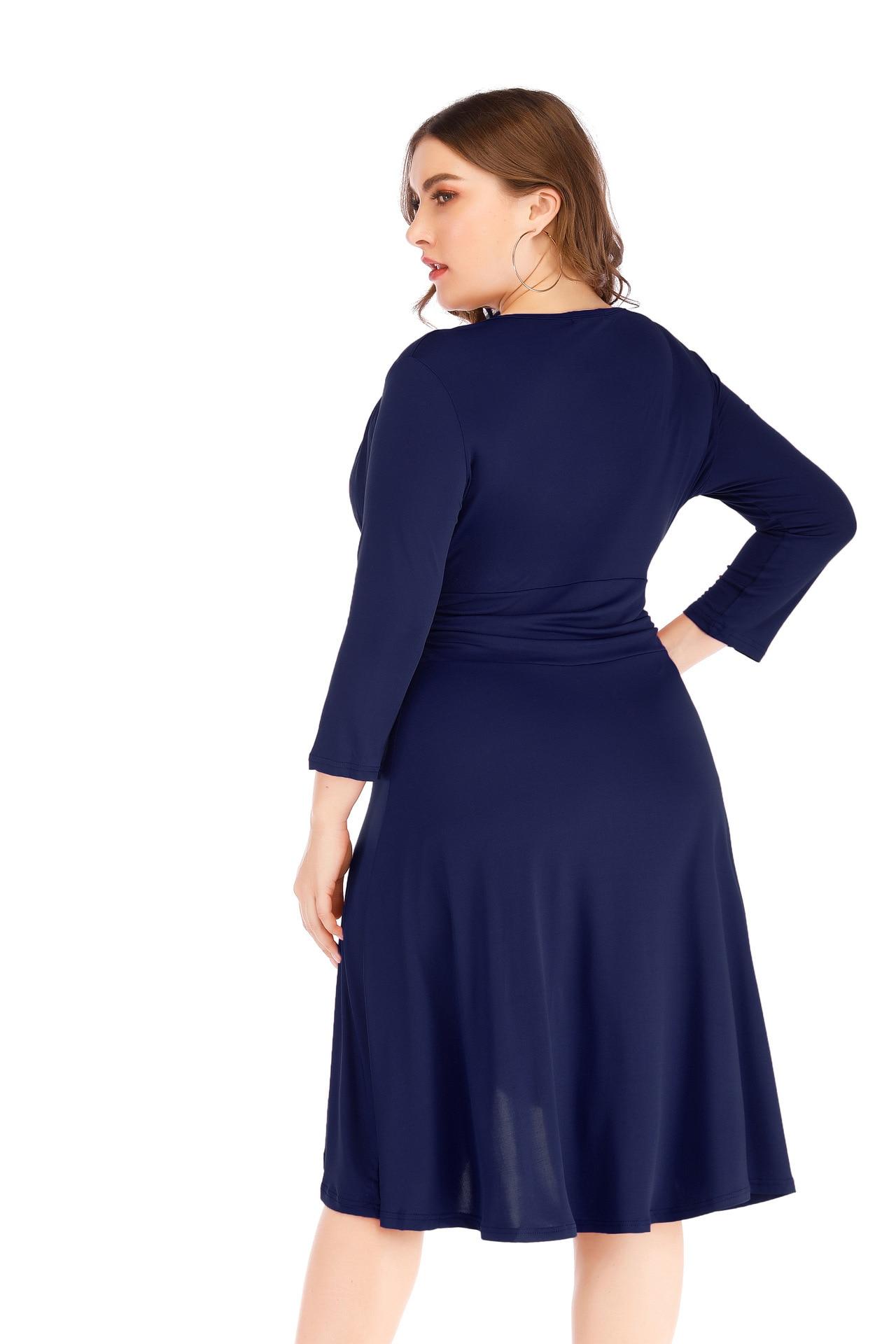 Fat Mm Large Size Dress 2019 Spring Clothing New Sexy V-neck Waist Hugging Solid Color Irregular Dress Big Skirt 8489