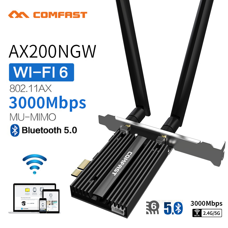 Dual Band 2.4Gbps PCIe Wifi Card Intel AX200 Gigabit Network Card 802.11AX Bluetooth 5.0 Wi-Fi 6 AX200 Pro Wireless Adapter