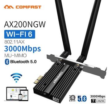 цена на Dual Band 2.4Gbps PCIe Wifi Card Intel AX200 Gigabit Network Card 802.11AX Bluetooth 5.0 Wi-Fi 6 AX200 Pro Wireless Adapter
