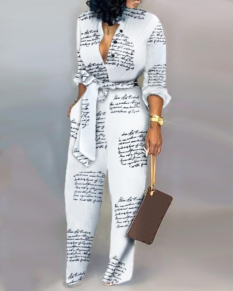 Letter Print Casual Knotted Jumpsuit Long Sleeve High Waist Street Wear Jumpsiut Romper Long Trousers