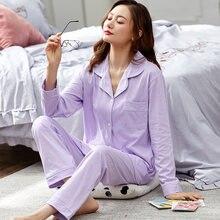Женские пижамы из 100% хлопка зимние фиолетовые дамские dormir