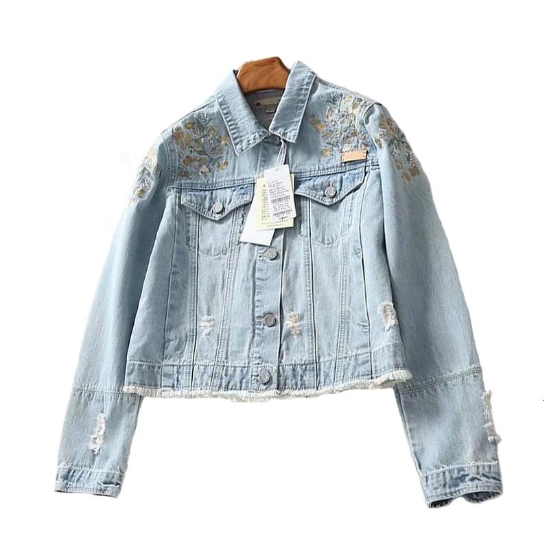 Stylish   jackets   Bleaching detergent Washing cloth Long Mouw Denim Jas Pailletten Plus Size jeans   Jackets   Women's   basic     jacket