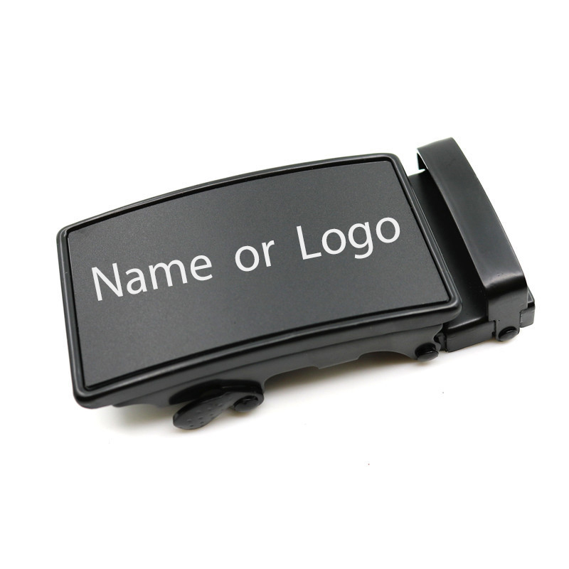Mens Gift Personalized Automatic Belt Buckle Custom Engraved Logo Belt Head Black Lettering Button Wedding Jewelry Accessories