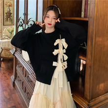 Pullover Sweater Outer-Wear Loose Women Ladies Wind Tie Bow for Bow-Tie Gentle Fall