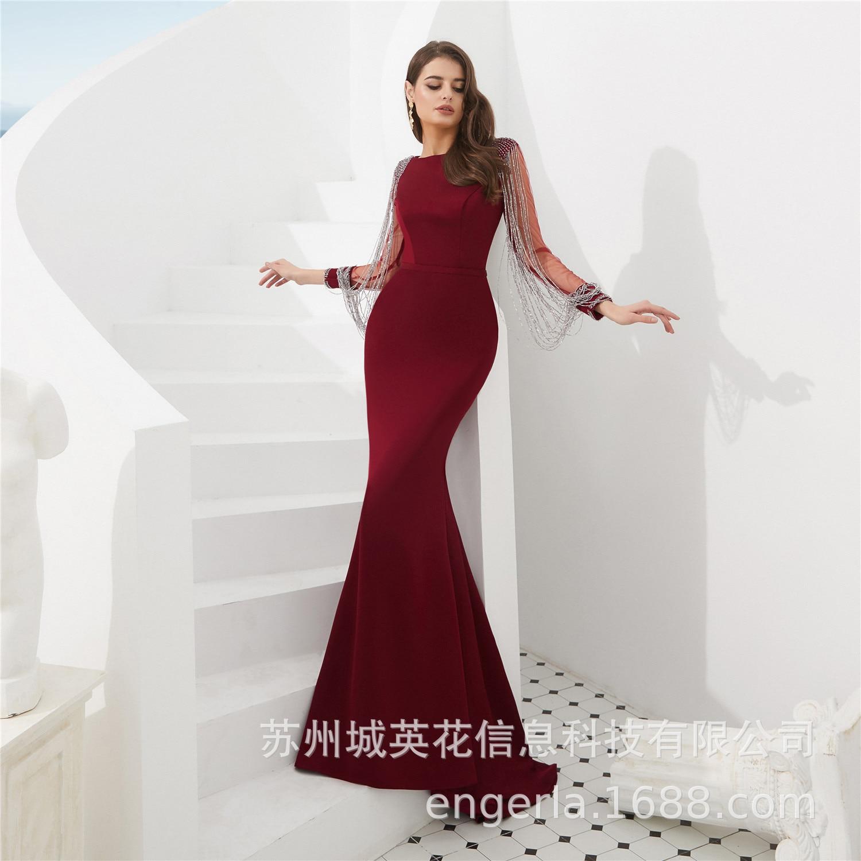 Luxury Long Sleeves Mermaid Sequins Evening Dress 2019 Vestido de Festa Crystal Beads Scoop Evening Gown Avondjurk - 3