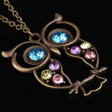 Sweater Necklace Vintage Rhinestone Owl Jewelery Long Pendant XIN-Shipping(China)