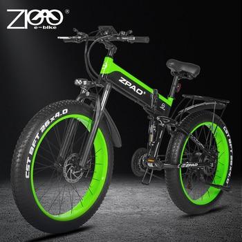 ZPAO Electric Bike 1000W Adult Mountain Bike 26 Inch Snow Electronic Bike 48V Electric Bicycle 4.0 Fat Tire e bike Folded Ebike 1
