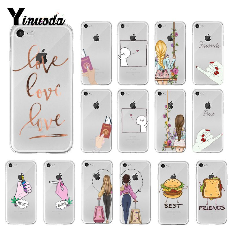 Yinuoda We will always be best friends <font><b>BFF</b></font> TPU Soft Silicone Phone <font><b>Case</b></font> for <font><b>iPhone</b></font> 6S 6plus 7 7plus 8 8Plus X Xs MAX 5 5S XR 10 image