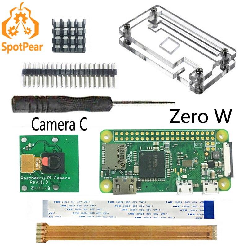 Raspberry pi zero w kit 5mp câmera dissipadores de calor chave de fenda zero caso cabo 15cm