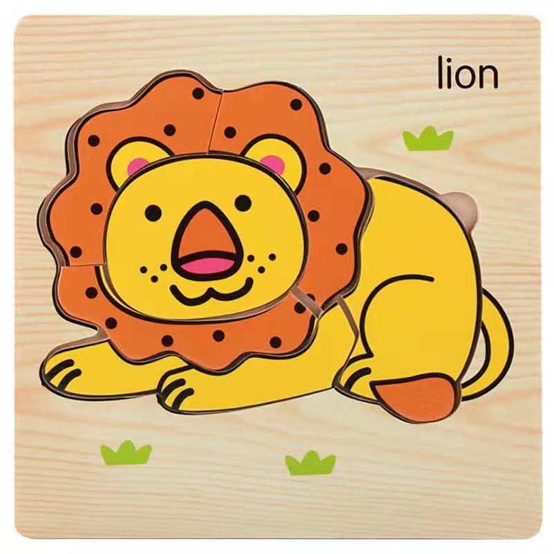 3D деревянные головоломки, игрушки для детей, Деревянные 3d Мультяшные головоломки с животными, интеллектуальные детские развивающие игрушки для детей - Цвет: Сливовый