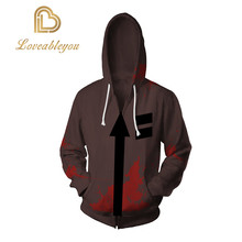 Cosplay Angels of Death Costume Isaac Foster Zack Sweatshirts Uniex 3D Printing Zipper Jacket Hooded Sweater Coat Tops