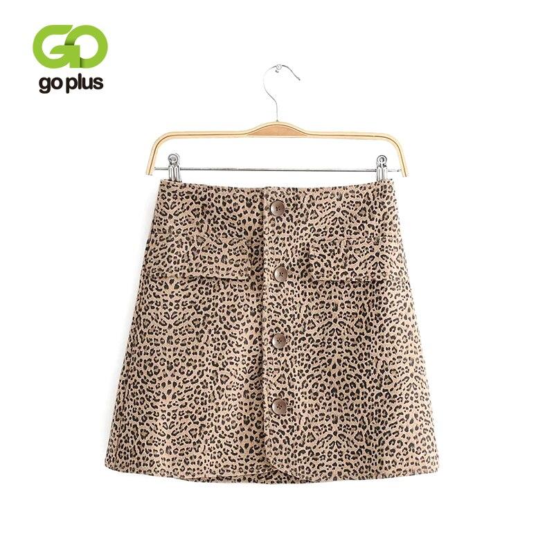 GOPLUS Sexy Leopard Print Mini Skirts Womens Fashion 2019 New Arrival Buttons High Waist Skirts Women Streetwear A Line Skirt
