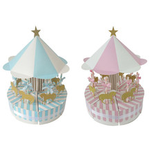 Creative Carousel Paper Candy Box Trouwbedankjes Vintage Dozen Snoep Chocolade Geschenkdoos Treat Boxes Baby Shower Kids Verjaardag(China)