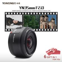 YONGNUO YN 35mm F2 Camera Lens for Nikon Canon EOS YN35MM Lenses AF MF Wide Angle Lens for 600D 60D 5DII 5D 500D 400D 650D 6D 7D