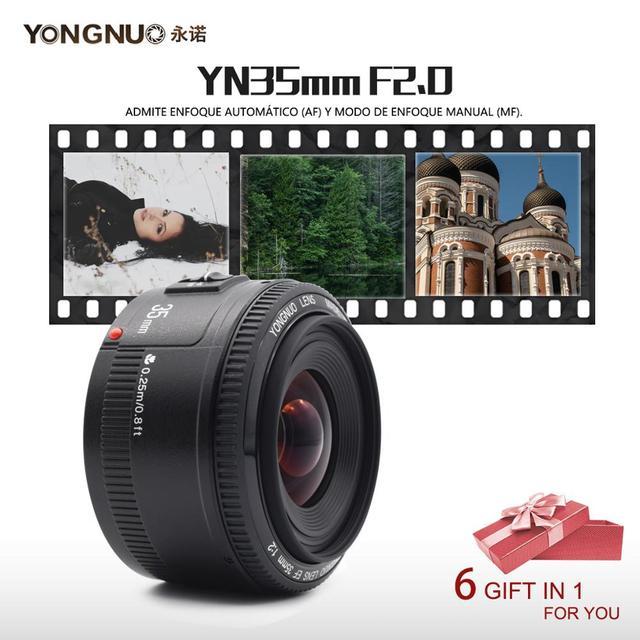 YONGNUO YN 35mm F2 Camera Lens voor Nikon Canon EOS YN35MM Lenzen AF MF Groothoek Lens voor 600D 60D 5DII 5D 500D 400D 650D 6D 7D