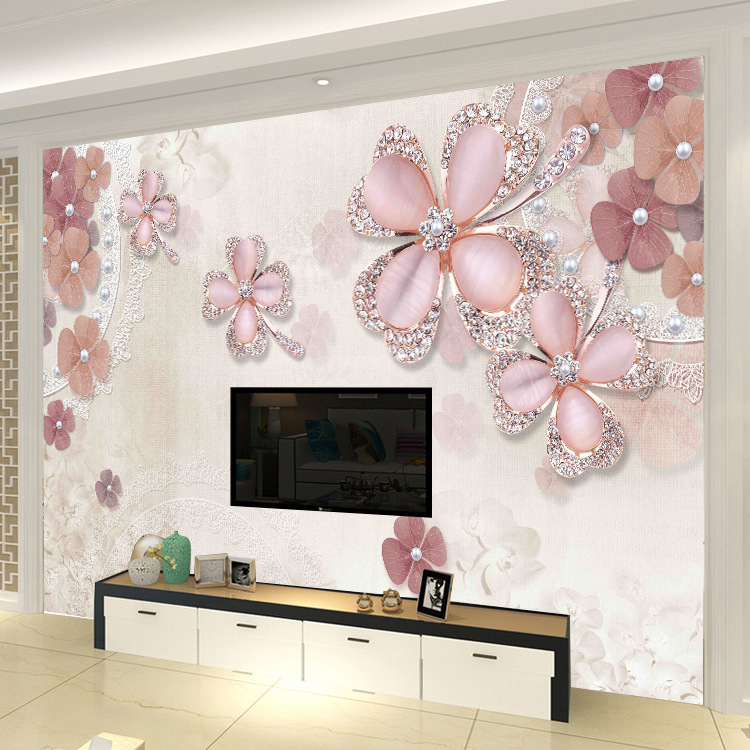 TV Backdrop Wallpaper Modern Minimalist 3D Mural Jewelry Flower Seamless Whole Piece Living Room Wall Painting