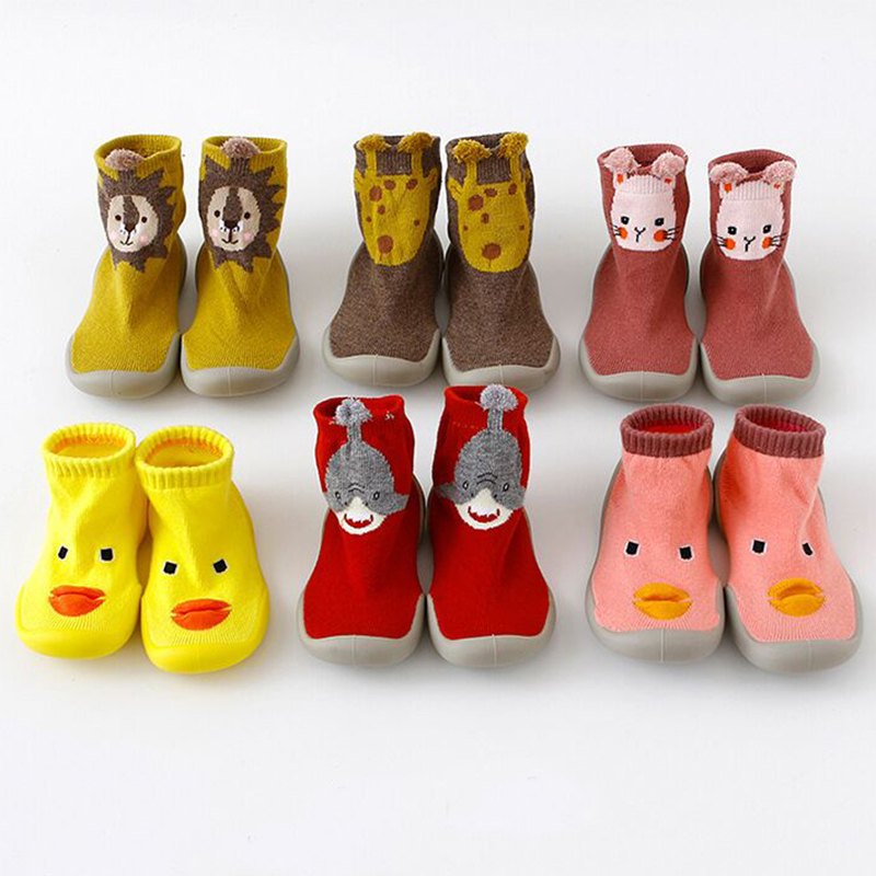 Toddler Girls Shoes First Step Knitted Baby Shoes Soft Rubber Sole Warm Cartoon Floor Home Slippers Autumn Winter First Walkers