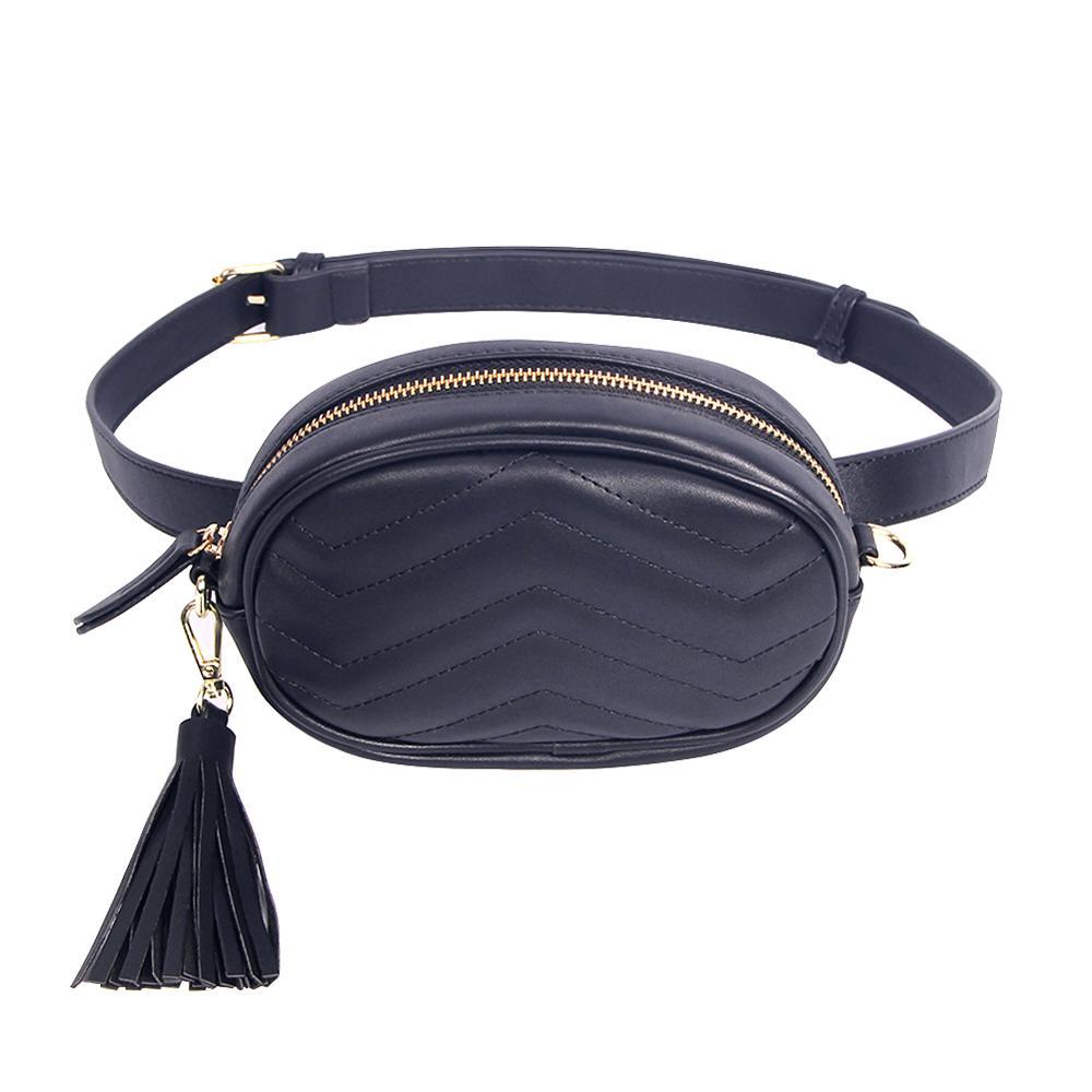 Brand Women's Belt Bags Solid Pu Leather Waist Packs Ladies Tassel Fanny Pack Female Travel Phone Wallet Belt Waist Bag Box