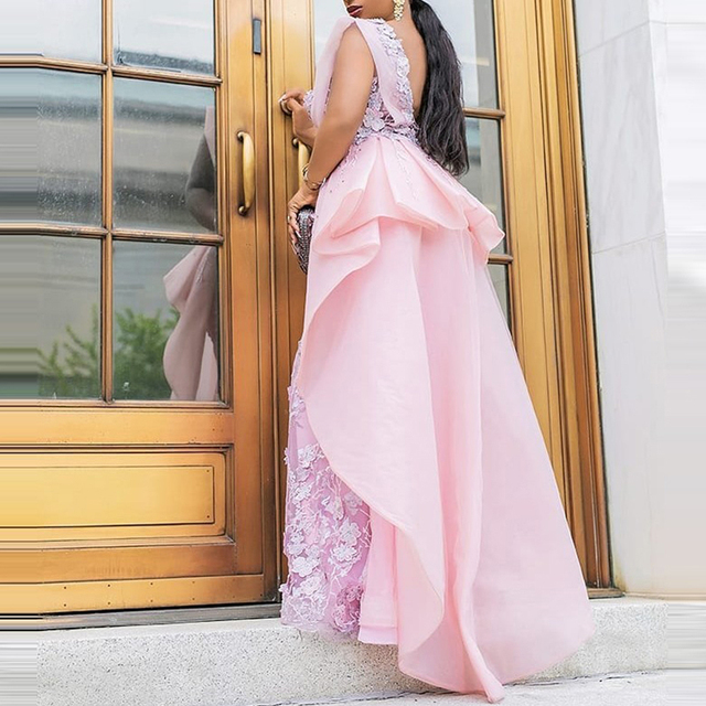 Sevintage Chic Pink Scoop Mermaid Prom Dresses Lace Satin Chiffon Women Formal Dress Custom Made Plus Size Evening Gowns 2020 2