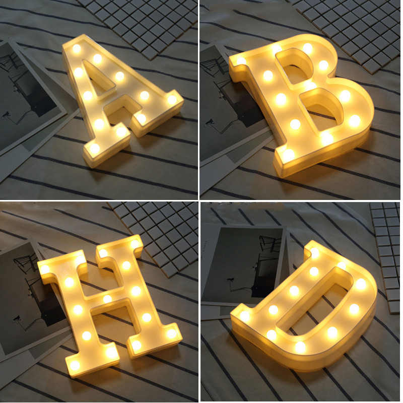 3D Luminous LED Letter Night Light Creative 26 English Alphabet Number Battery Lamp Romantic Wedding Party Decoration