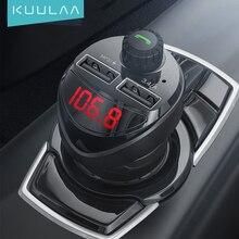 KUULAA – Transmetteur audio FM, Bluetooth avec chargeur double USB 3,4 A, lecteur MP3, port carte TF, pour voiture, compatible avec téléphone Xiaomi Mi