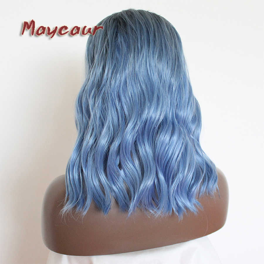 Maycaur Hair Ombre #1B To Blue Synthetic Lace Front Wig Short Bob Loose Wavy Wigs Heat Resistant With Natural Hairline For Women