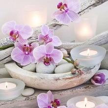 DIY Алмазная вышивка крестиком дзен Орхидея Алмазная вышивка цветы кристалл круглая Алмазная мозаика картины рукоделие