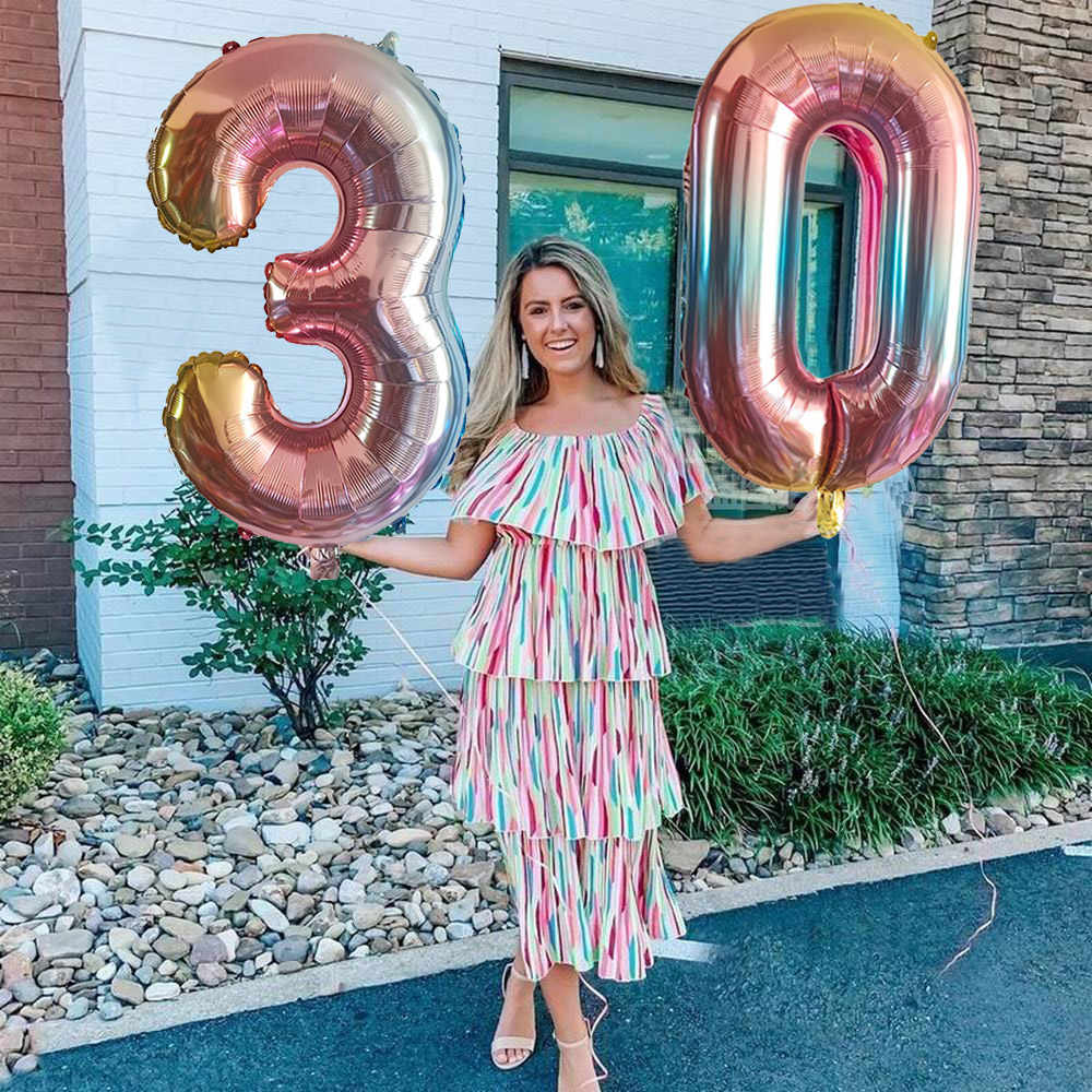 "Birthday Decor 32/""  Party  Gradient  Color   Number  Digital  Celebration"