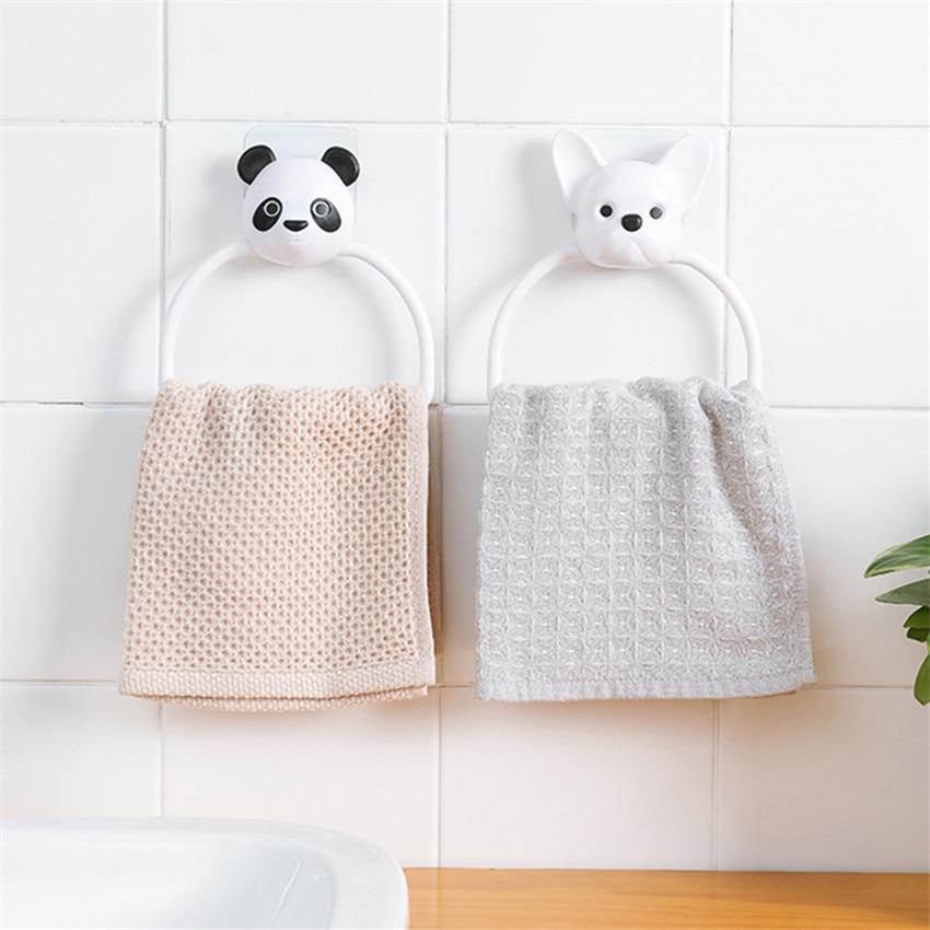 1PC ABS Cartoon Animals Towel Rack Wall-Mounted Bathroom Toilet Child Hanging Towel Holder Hanger Home Kitchen Towel Rack Ring