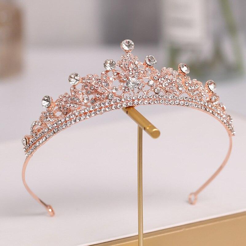 Luxury Crown Bridal Crown Headwear Rhinestones Inlaid Retro Headdress Wedding Birthday Hair Accessories for Female ML