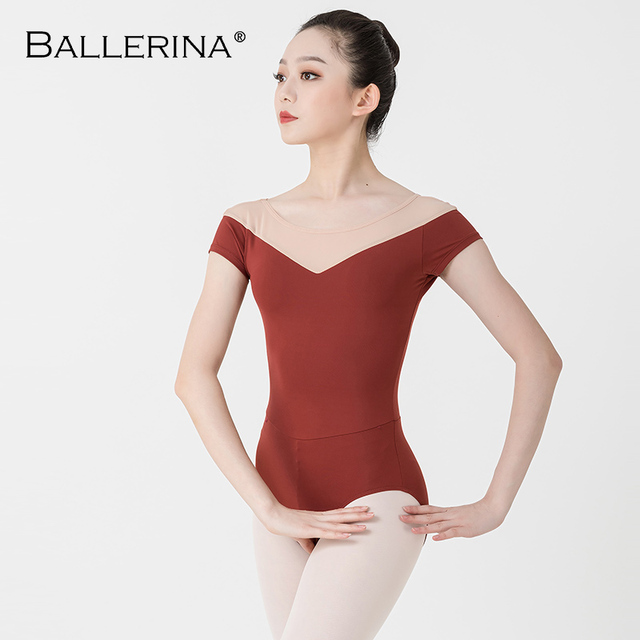 Bailarina ballet leotardo mujeres entrenamiento profesional yoga malla manga corta gimnasia leotardo danza traje Adulto 3582