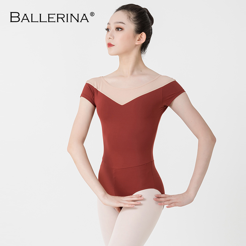 Ballerina Ballet Leotard Women Professional Training Yoga Mesh Short Sleeve Gymnastics Leotard Dance Costume Adulto 3582
