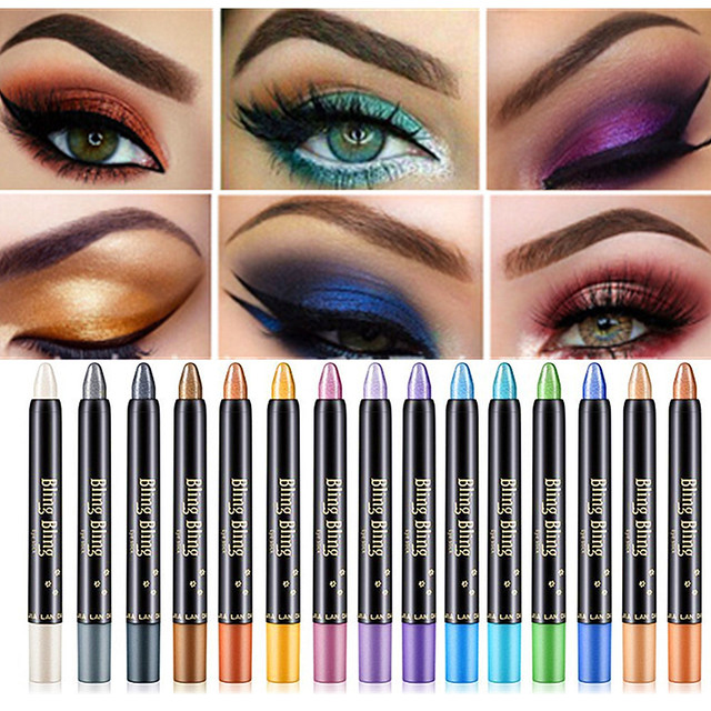 Professional Bling Colorful Eyeshadow Pen Shimmer Highlighter Eye Shadow Pencil Stick Makeup Waterproof Long Lasting Eye Lids