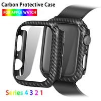 Obudowa ochronna do zegarka Apple Watch Series 5 4 3 2 1 38mm 42mm 44mm 40mm obudowa do zegarka z włókna węglowego