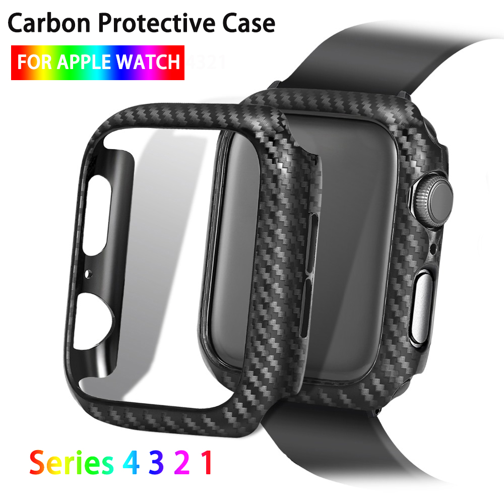 Watch Protector Cover For Apple Watch Case Series 5 4 3 2 1 38mm 42mm 44mm 40mm Carbon Fiber Watch Case Frame Bumper