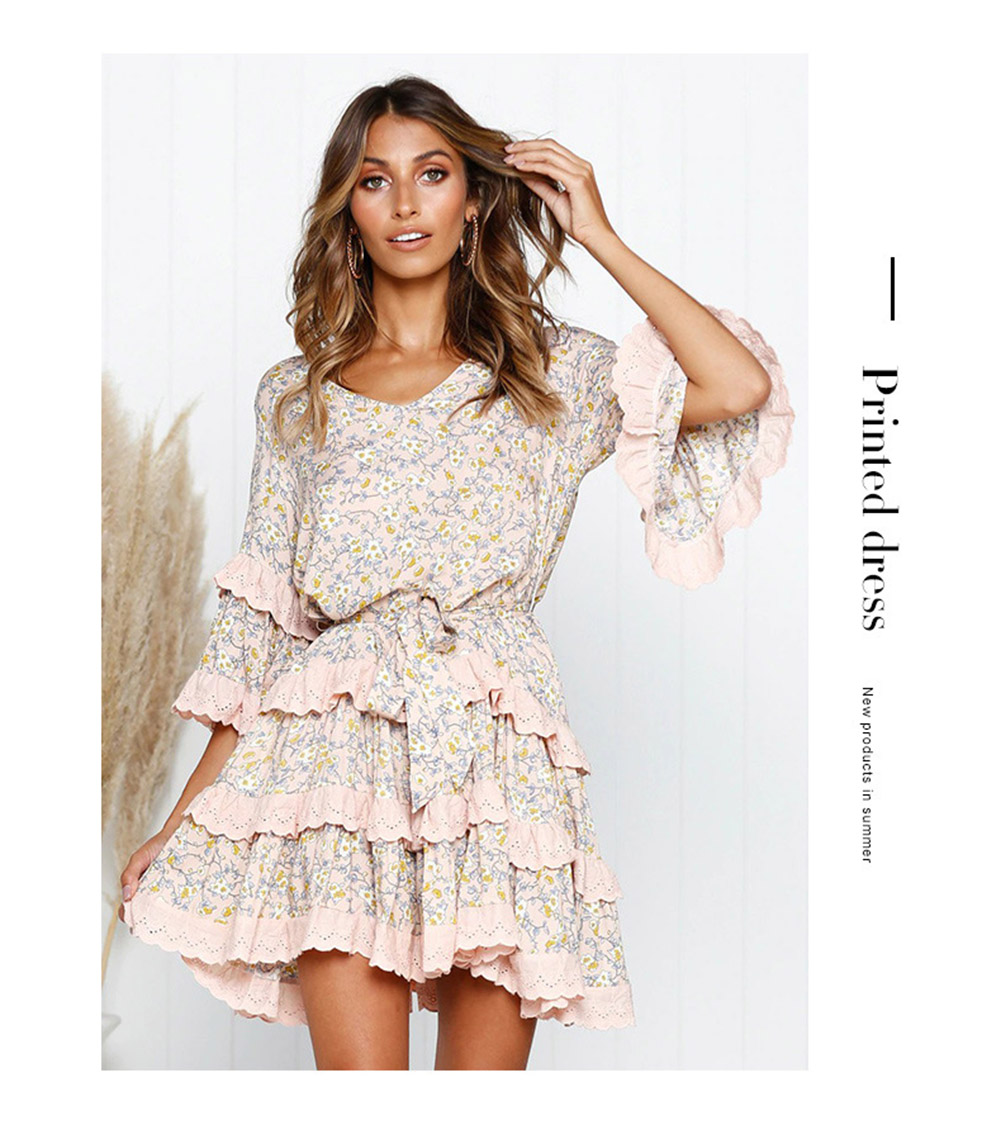 Vintage Floral Pleated V neck Mid Sleeve Short Mini Ruffles Dress 4