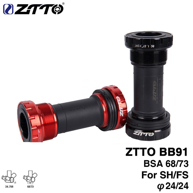 ZTTO BB91 Bicycle Bottom Bearing Seal Bearing Thread 68 Type 73 Mm BSA68 Shell 24 Mm Spline Shaft MTB Press-in Threaded Shaft