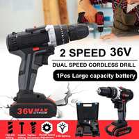 36V 5000mAh 5~28Nm 25 speed Torque Double Speed Brushless Cordless Electric Drill Screwdriver LED lighting w/1 Battery
