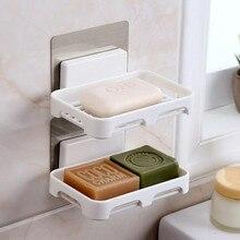Bathroom Soap Dishes Drain Sponge Holder Organizer Wall Mounted Storage Rack Box Kitchen Hanging Shelf