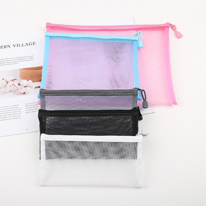 12PCS A4 A5 Double Pocket Pencil Case Nylon Mesh Document File Zipper Bag Large Capacity Storage Pouch School Office Supplies