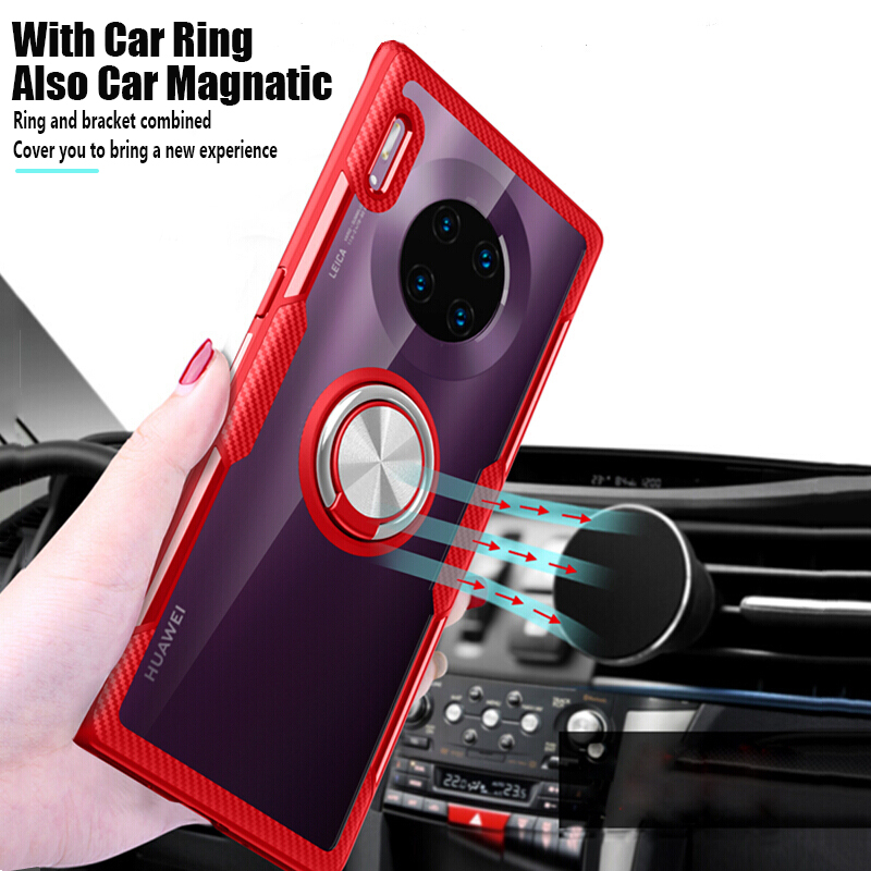 Luxury Shockproof <font><b>Case</b></font> For <font><b>Huawei</b></font> <font><b>Mate</b></font> 30 Silicone <font><b>Cover</b></font> For <font><b>Mate</b></font> 20X 20 <font><b>Lite</b></font> <font><b>Mate</b></font> <font><b>10</b></font> 20 30 Pro 5G Armor Magnetic Car Ring <font><b>Cases</b></font> image