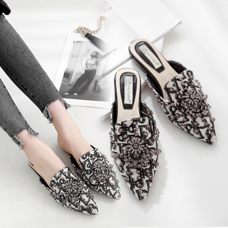 Crystal Women Mules Slip Outdoor Slippers Women Flats Pointed Toe Heel Spring Autumn Shoes Woman Flat Shoes chaussure femme 1