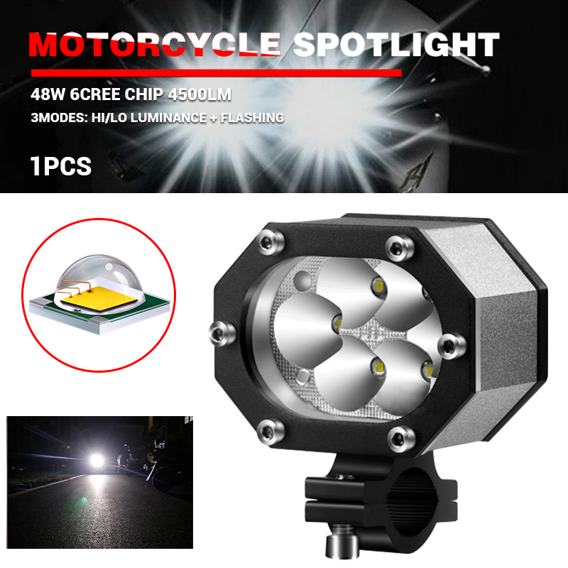 12V 60W LED Spot Light Motorcycle Scooter Moped Off Road Waterproof Headlight
