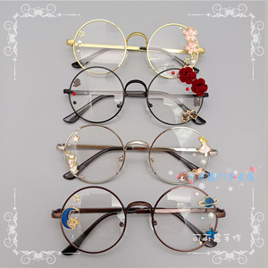 Handmade Lolita Eyeglass Frame Harajuku Round Glasses Black Silver Bronze Golden Rose Sakura Star Moon Fairy Rabbit Fashion