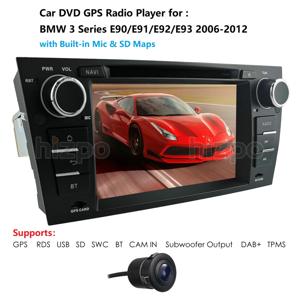 <font><b>7</b></font> Inch Touch Screen Wince Car radio DVD player For bmw <font><b>3</b></font> series e90 E91 E92 E93 GPS Navigation with BT SWC RDS MAP Card USB image